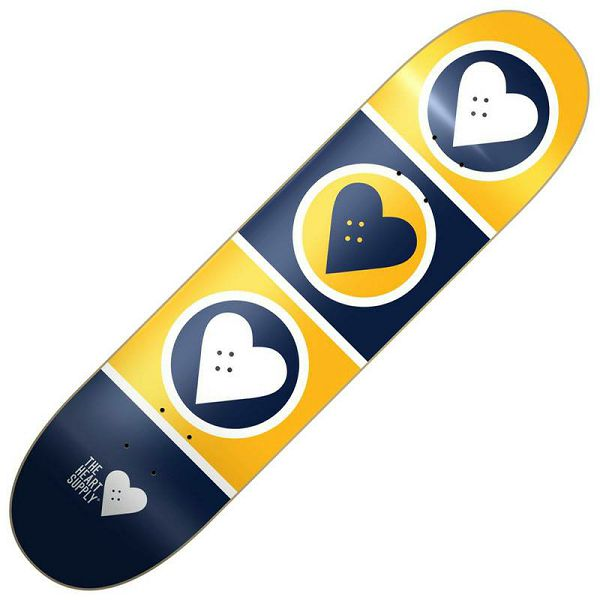 Heart Supply Squad Skateboard Deck Yellow 7.75