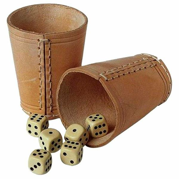 Leather Dice Cup + 6 kockica