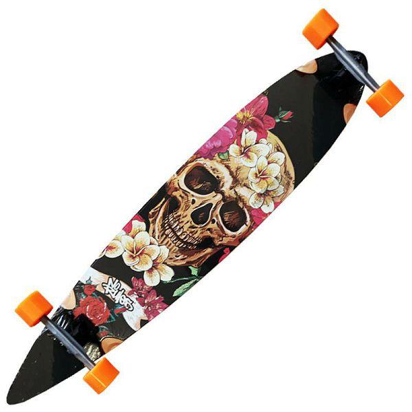 Longboard No Rules Skull Flower