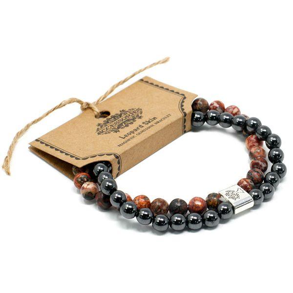 Narukvica Magnetic Gemstone - Leopard Skin