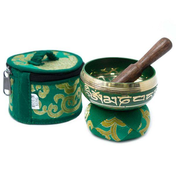 Mini Singing Bowl Gift Set Green