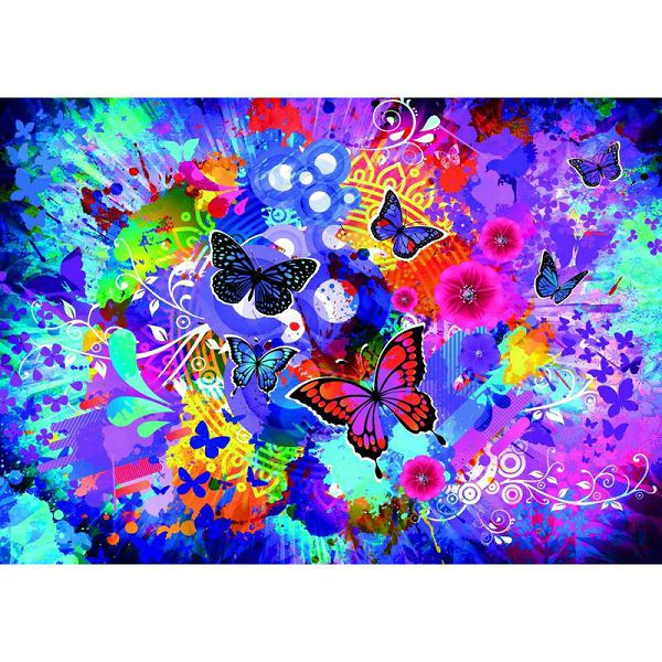 Puzzle Colorful Flowers and Butterflies